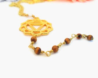 Solar plexus chakra necklace, tigers eye and Manipura symbol dangle pendant, red crystal healing stones, gold colored chakra healing jewelry