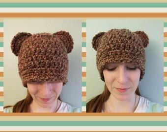 Fuzzy Brown Bear Beanie