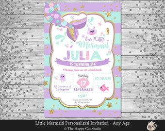Mermaid Invitation, Personalized, Printable, 1st Birthday Party, Invites, Digital Print Download File, Under the Sea, Girls Party, Gold Tail