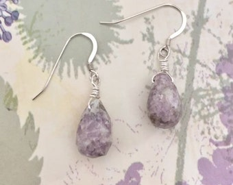 Sterling silver earrings with briolette stone