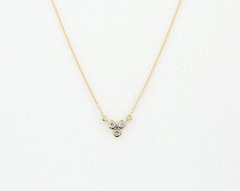 Bezel Set Diamond Necklace/  14k Gold Trio Diamond Necklace/ Simple Diamond Necklace/ Layering Diamond Necklace/ Dainty Diamond Necklace