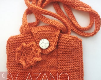 Orange bag knitted/Crochet shoulder bag