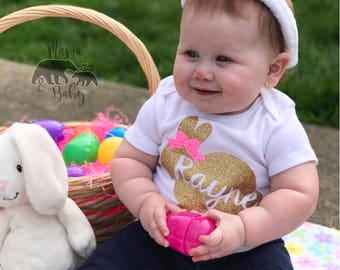 Baby Girl's Personalized Easter Onesie, Toddler Easter Shirt, Bunny Easter Onesie, My First Easter Outfit, Newborn Easter Onesie