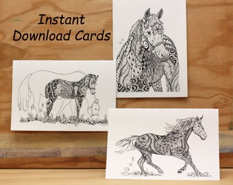 3 Pack of Instant Printable Zentangle Horse Cards//Doodle Cards//Horses//DIY Cards