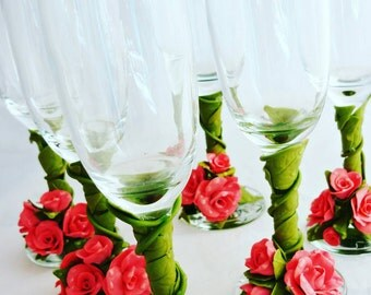 Personalized wedding  flutes,wedding champagne glasses,wedding flutes set of 6,champagne flutes,personalized wedding glasses, flutes polymer