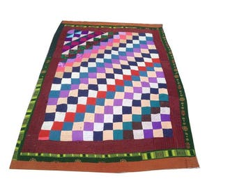 ARTICLE # 6001 Genuine Old Sindhi Patchwork Ralli Quilt | Table Cover | Bed Spread etc HAND MADE 180 x 120 cm , 6 X 4 Feet