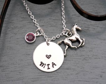 Personalized Horse Necklace, Horse Necklace, Horse Name Necklace, Girl Name Necklace, Name Birthstone Necklace, Horse Heart Necklace, Custom