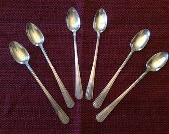 """Set of 6 Silver Plate Iced Tea Spoons - """"Avon"""" pattern by International-Avon, patented 1940"""