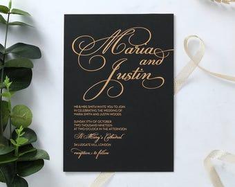 Sophisticated & Scripted Wedding Invitation, Black 16100
