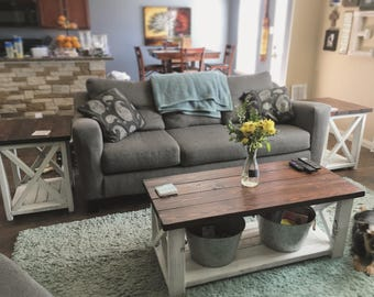 3pc Farmhouse Style Coffee Table & End Tables Set