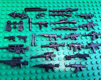 50 Pieces Weapon Pack - Minifigure Accesories For Mini Figures -  (Rifle, Guns, Pike, Swords, Grenade, etc)