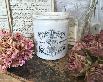 Sainsburys potted meat english advertising pottery brocante shabby chic vintage pearlware ceramics jar crock