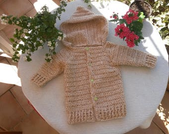 Vest hooded baby soft wool crochet 12-15 months