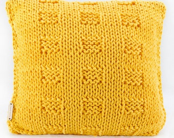 Beautiful cotton cord pillow - sunny yellow chessboard