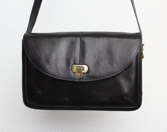 Vintage Black Genuine Leather Shoulder Bag