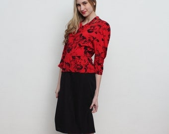 Vintage Red And Black Midi Dress With Black Flowers