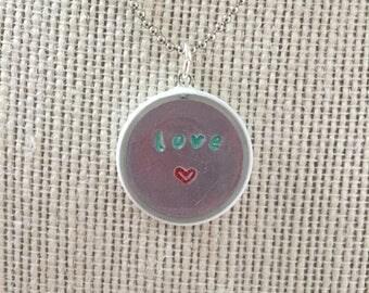 Stamped Metal Love Resin White Pendant Necklace Bracelet Handmade Jewelry