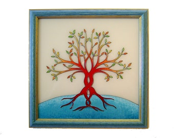Tree of Life Unique Glass Painting Wall Picture, Tree of Life Home Decor, Wedding Gift Tree Wall Decor  Blue Home Decor Living Room Decor