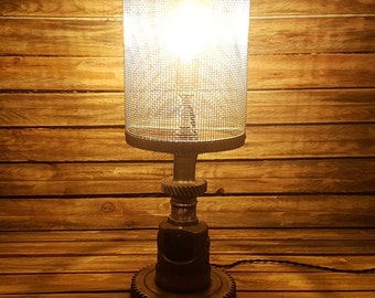 Industrial table lamp with LED Edison bulb - lighting, vintage, lights, industrial, steampunk, unique, recycling, loft, upcycling