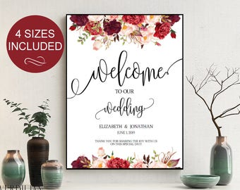 Wedding Welcome Sign Wedding Reception Greet Guests Burgundy Floral  Printable Welcome to Our Wedding Poster Board DIY Template| VRD137SBA