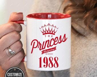 Princess since 1988, 30th birthday 30th birthday gifts for women, 1988 birthday gift, 30th birthday mug for mens, 30th birthday