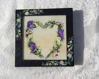 Framed Hand Painted Stained Glass Floral Heart