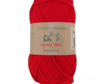 Lacery Yarn 100g - 2 Skeins - 100% Cotton - Hearts Red - Color 205