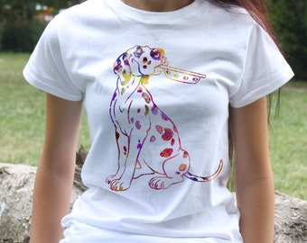 Dalmatian tee - Dog t-shirt - Fashion women's apparel - Colorful printed tee - Gift Idea