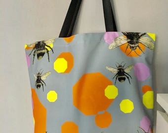 Bright Bee Bumble. Canvas Tote Bag. Beach, shopping, carrier bag  Orange, grey and yellow.