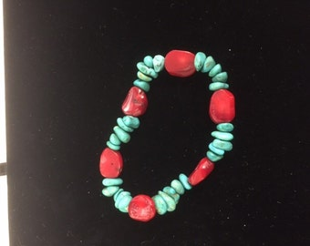 Chunky bamboo coral and turquoise bracelet