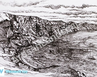 Cornwall Coastal Bay Cliff Boat Pen And Ink Illustration Print