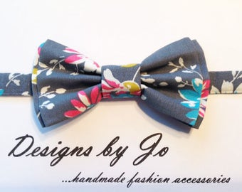 Bow Tie,Mens Bow Tie,Formal Bow Tie, Suit Bowtie, Grey Floral, Prom Bow Tie,Wedding Bow Tie,Mens Fashion Accessory,Bow Tie,Mens Bowtie  M681