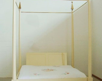 Handmade wood canopy bed