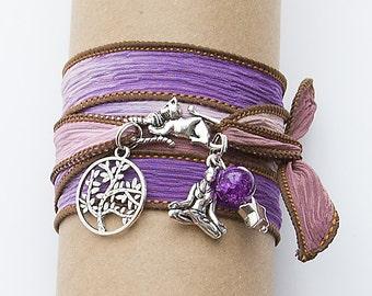 Boho Yoga Wrap Bracelet Silk Ribbon//Charms//Bead//Hippie//Festival #05
