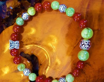 8 mm Genuine Carnelian and Peridot Spring Song Bead Bracelet