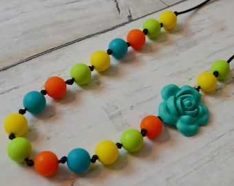 Silicone Teething Necklace - Vibrant Knotted Flower - Free Shipping