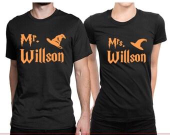 Personalized Wedding Shirts - Mr. and Mrs. Shirt Set- HARRY POTTER - Couples Shirts. Honeymoon Shirts. Hubby and Wifey T-shirts