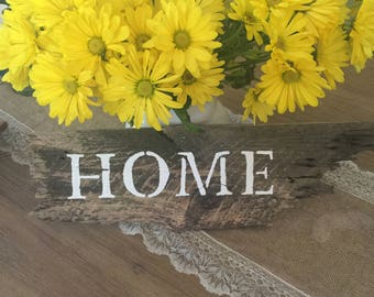 "Reclaimed wood sign, ""Home"""