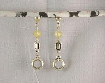 Earrings Citrine, 3D, removable earrings,® MoovClipEar circle