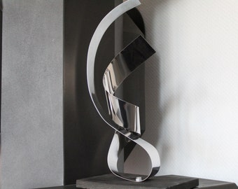 Large modern abstract wood stainless steel metal artist sculpture 'Over you 1' 36 cm