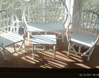 4 Piece WHITE RATTAN STYLE Doll  Furniture