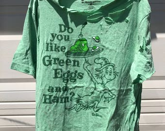 Dyed distressed Vintage Retro Dr. Suess shirt.