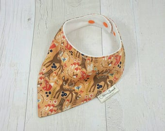 Baby neckerchief, girls dribble bib, baby bambi, woodland animals, bambi baby shower, baby girl gift, baby accessories, bandana bib