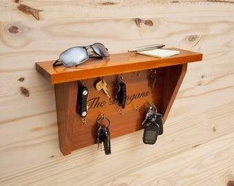 Engraved Key Rack & Shelf - Cedar