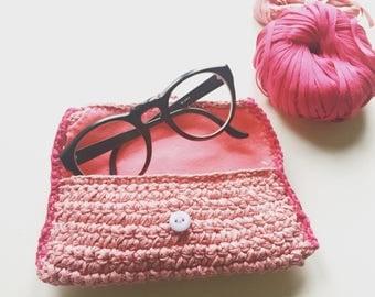 Pocket square crochet bag/glasses holder