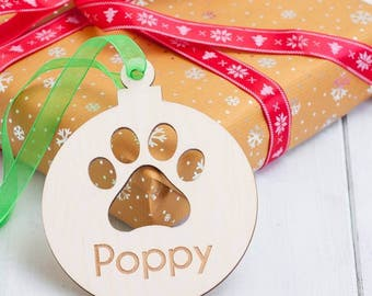 Personalised Birchwood Christmas Cat Baubles