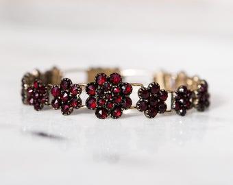 Antique Victorian Bohemian Garnet Flower Link Bracelet Heirloom
