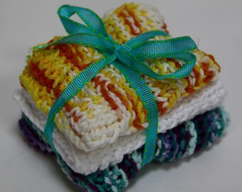 Knit Dish Cloths; Yellow and Blue Multi