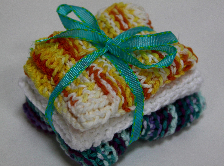 Knit Dish Cloths; Yellow and Blue, Dishcloth, Dish Rag, Spa Cloth ...