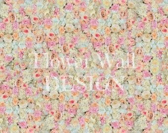 Flower Wall Backdrop with Pink, Peach and Ivory Silk Flowers - Artificial Flower Wall - Silk Flower Wall - Savannah